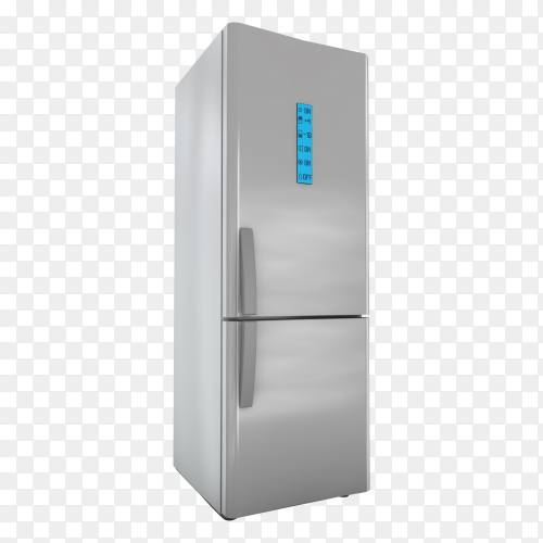 Modern refrigerator with screen control on transparent background PNG