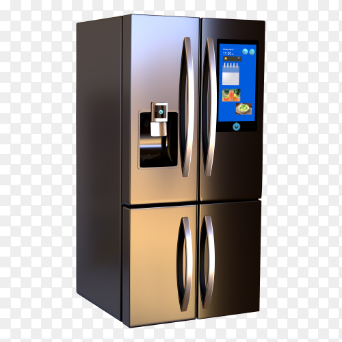 Modern side by side stainless steel smart refrigerator touch screen Premium image PNG