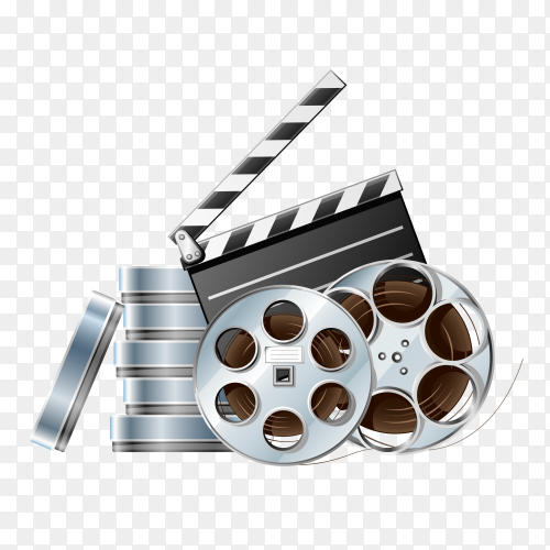 Movie film disk with clapper board vector PNG