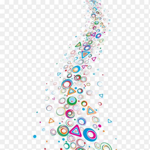 Multiple colors shapes on transparent background PNG
