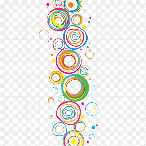 Multiple colors shaping circles on transparent PNG