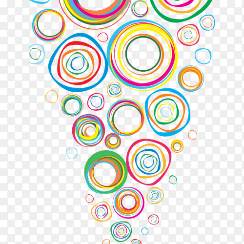 Multiple colors shaping circles on transparent background PNG