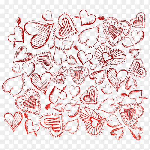 Multiple red hearts reveal love premium vector PNG