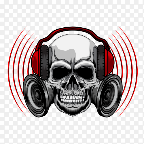 Music skull with headset on transparent background PNG