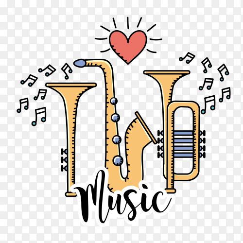 Musical instruments with musical notes vector PNG