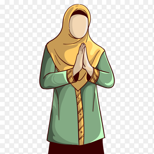 Muslim Woman cartoon praying to god on transparent background PNG