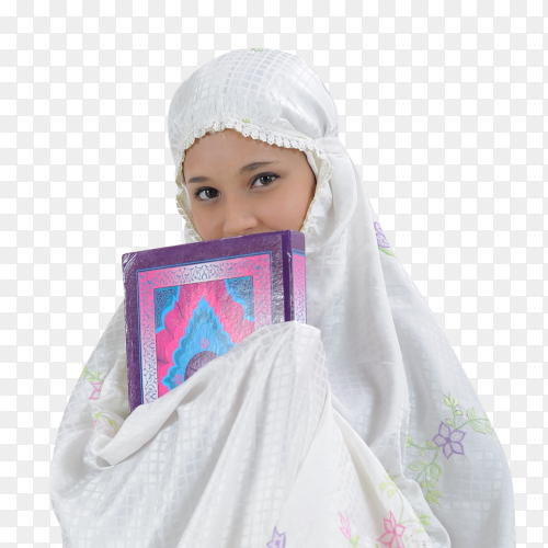 Muslim girl holds the quran on transparent background  PNG
