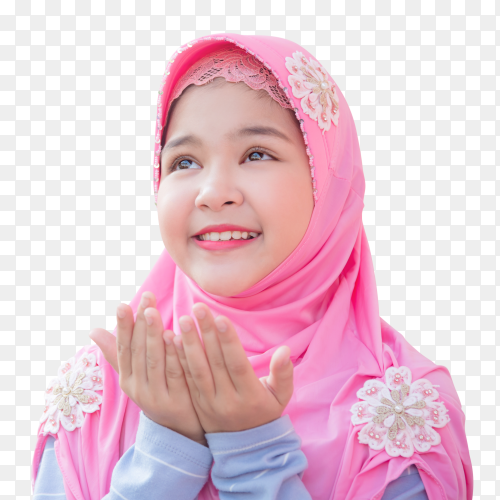Muslim girl is raising hands ask Prayer Allah on transparent  PNG