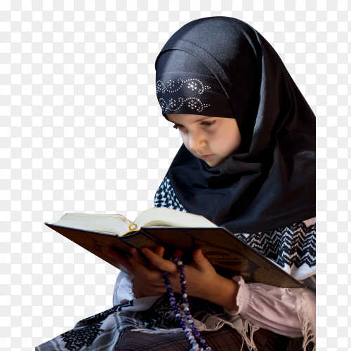 Muslim girl reading Koran on transparent background PNG