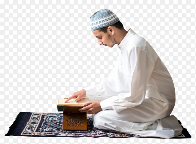 Muslim man Reading the quran on transparent background PNG
