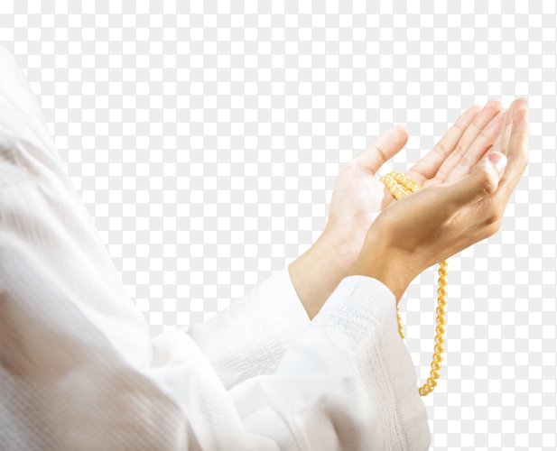 Muslim man praying with prayer beads on his hands Clipart PNG