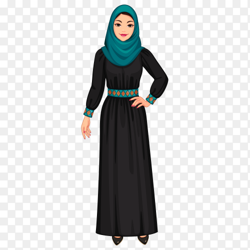 Muslim woman cartoon on transparent PNG