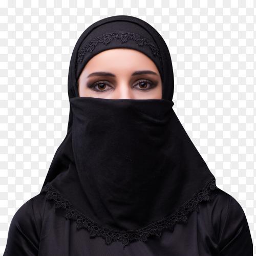 Muslim woman in black dress veil hijab Clipart PNG