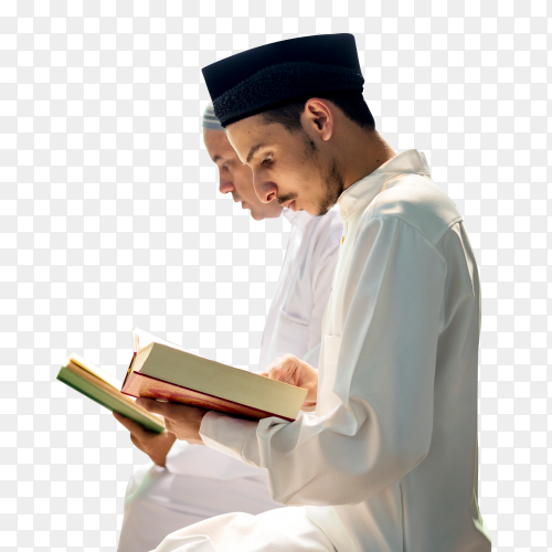 Muslims reading from the quran on transparent background PNG