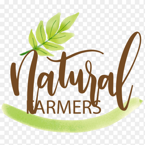 Natural farmers logo design on transparent background PNG