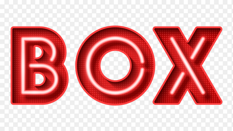 Neon Light 3D lettering BOX on transparent background PNG