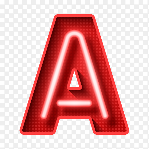 Neon Light Letter A with clipping path 3D illustration on transparent background PNG