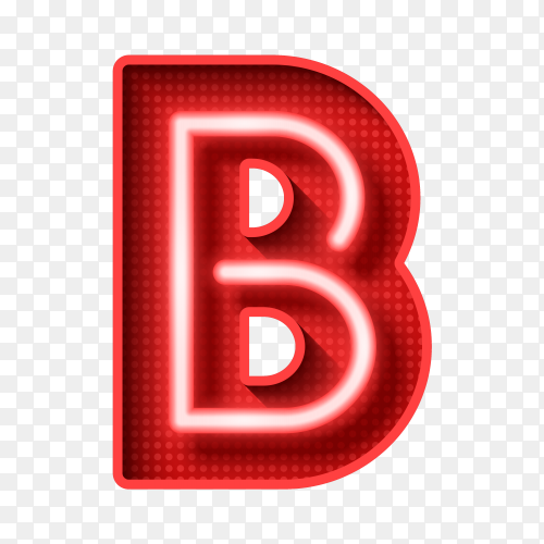 Neon Light Letter B with clipping path 3D illustration Clipart PNG