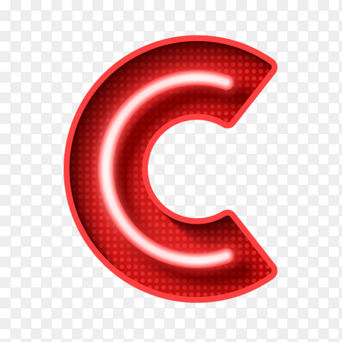 Neon Light Letter C with clipping path 3D illustration on transparent background PNG