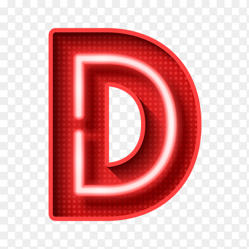 Neon Light Letter D with clipping path 3D illustration Vector PNG
