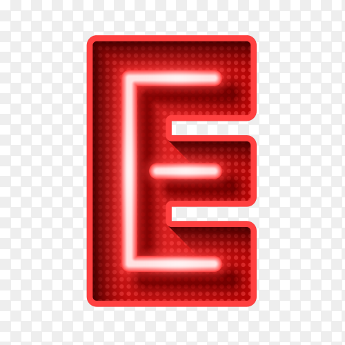 Neon Light Letter E with clipping path 3D illustration Clipart PNG