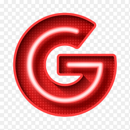 Neon Light Letter G with clipping path 3D illustration vector PNG