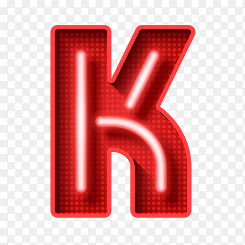 Neon Light Letter K with clipping path 3D illustration vector PNG