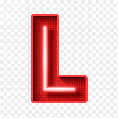 Neon Light Letter L with clipping path 3D illustration Clipart PNG