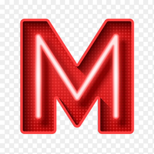Neon Light Letter M with clipping path 3D illustration on transparent PNG