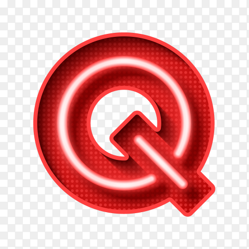 Neon Light Letter Q with clipping path 3D illustration vecto PNG
