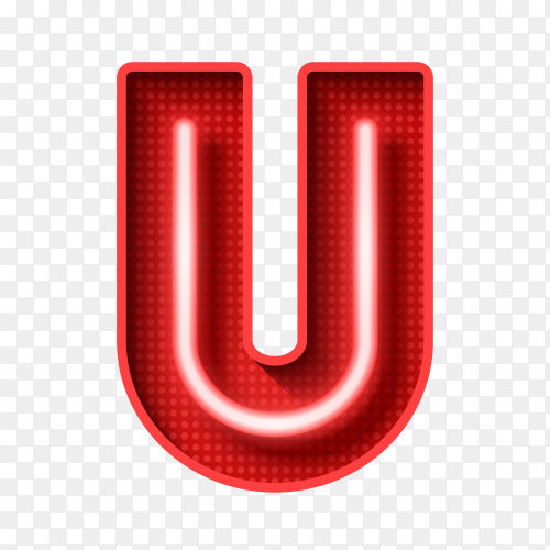 Neon Light Letter U with clipping path 3D illustration vector PNG