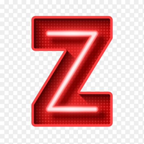Neon Light Letter Z with clipping path 3D vector PNG