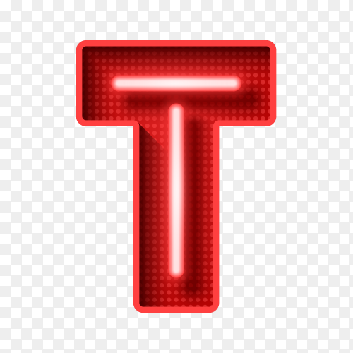 Neon Light letter T with clipping path 3D illustration Clipart PNG