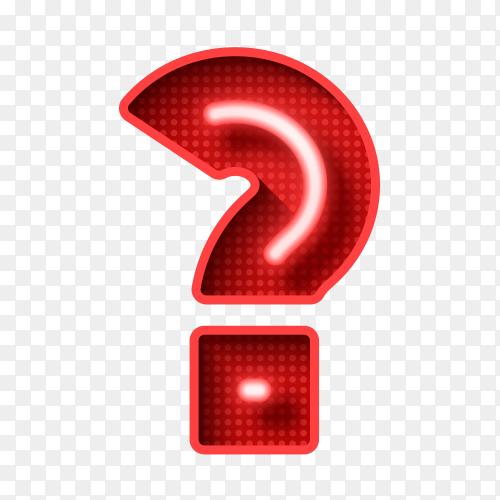 Neon light 3D Question Mark Text vector PNG