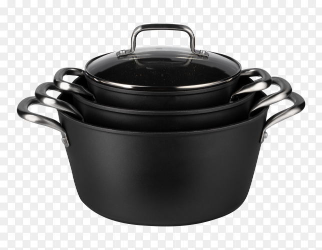 New set black saucepan isolated on transparent PNG