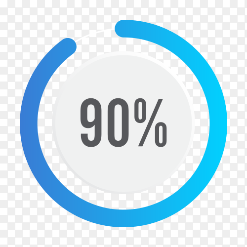 Ninety percent blue grey and white pie chart on transparent background PNG
