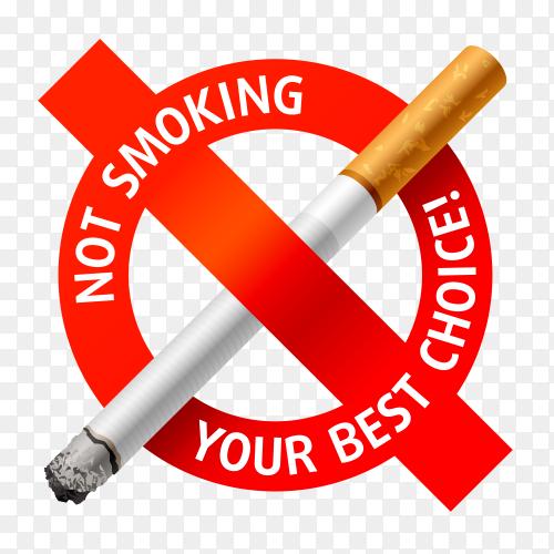 No smoking sign design on transparent background PNG