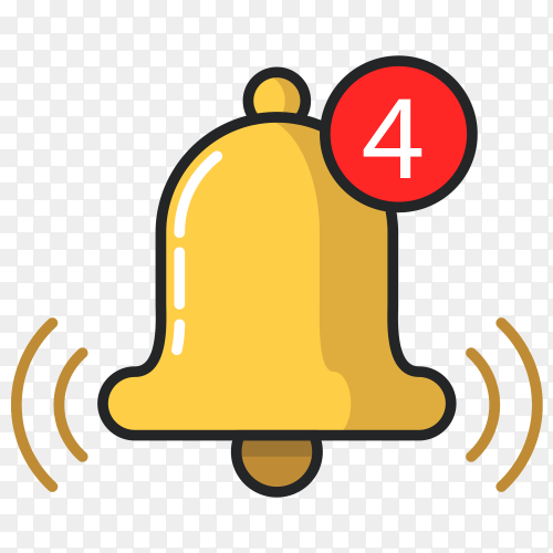 Notification bell icon vector PNG