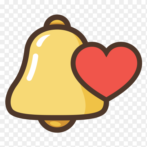Notification bell new message bell with heart vector PNG