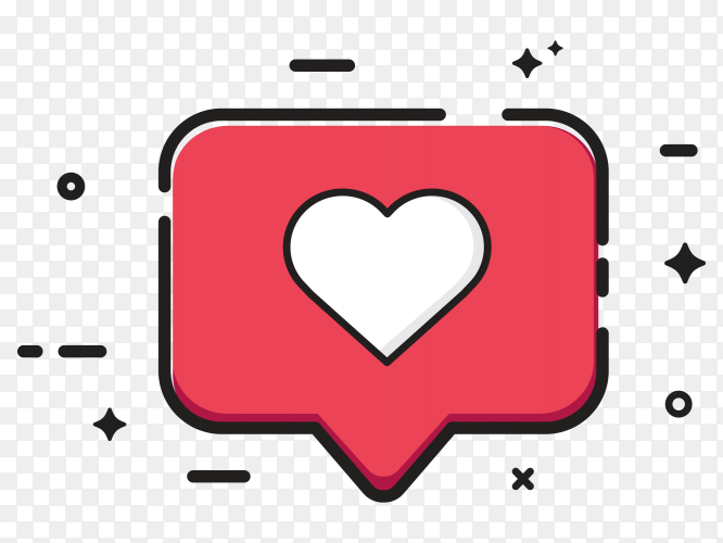 Notification love icon on transparent PNG