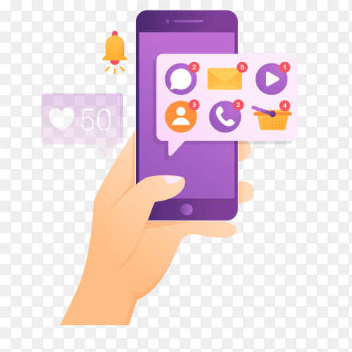 Notification of some applications on smartphone vector PNG