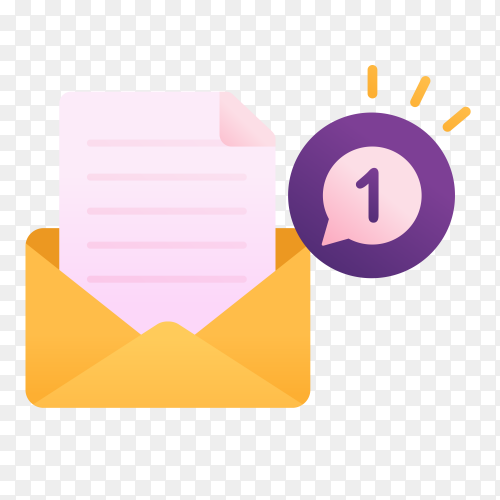 Notification one new message on transparent background  PNG