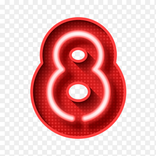 Number Eight symbol neon light 3D vector PNG