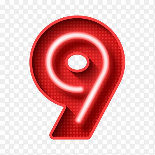Number Nine symbol neon light 3D Clipart PNG