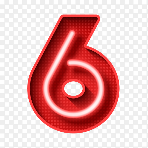 Number Six symbol neon light on transparent background PNG