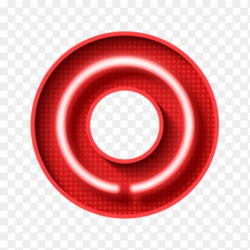 Number Zero symbol neon Light 3D Clipart PNG