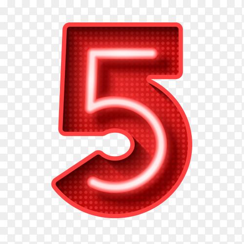 Number five symbol neon light 3D Clipart PNG