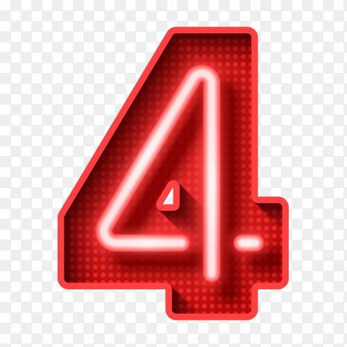 Number four symbol neon light on transparent background PNG