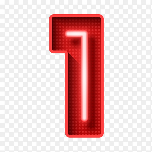 Number one symbol neon light 3D on transparent background PNG