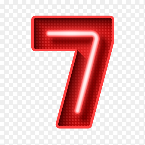Number seven symbol neon light 3D on transparent background PNG